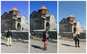 At Sevanavank Monastery with Leah Rose and my sister Leslie